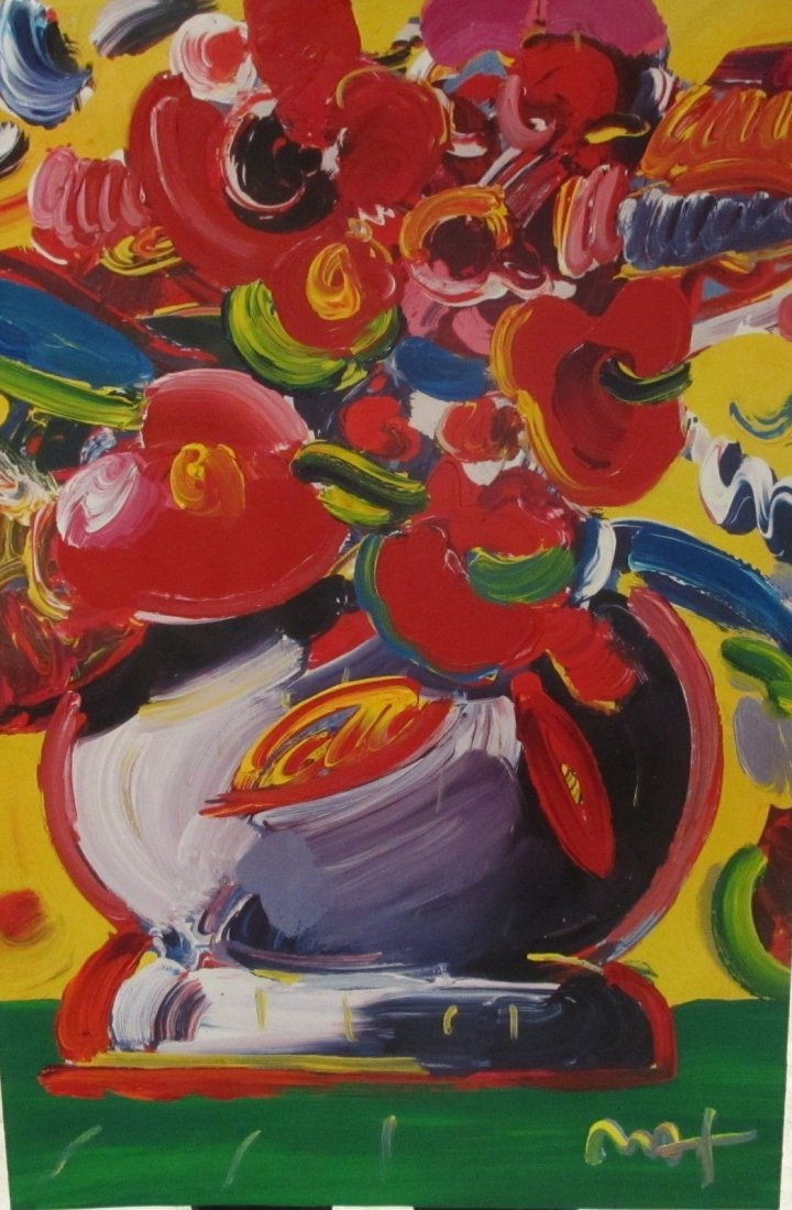 "Peter Max ""Flowers"" Original Mixed Media 36 x 24"