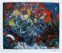 Marc Chagall Bouquet De Fleur Et Amants LE