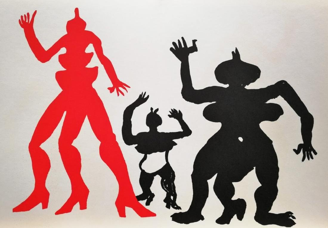 Alexander Calder 3 Figures Lmited Edition Lithograph