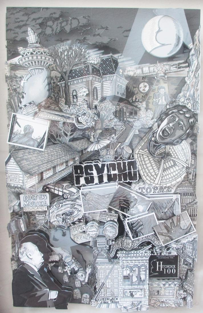 "Charles Fazzino, ""Psycho"" Framed 3D Serigraph DX with"
