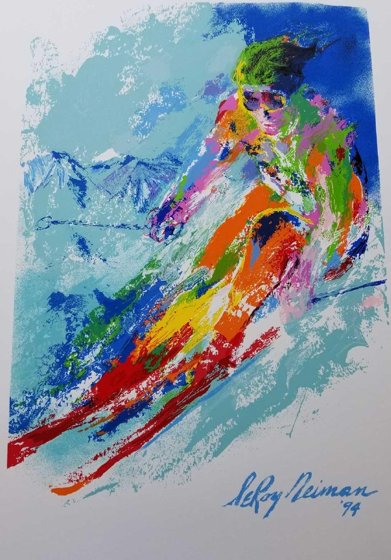 LeRoy Neiman - World Class Skier plate Signed by LeRoy