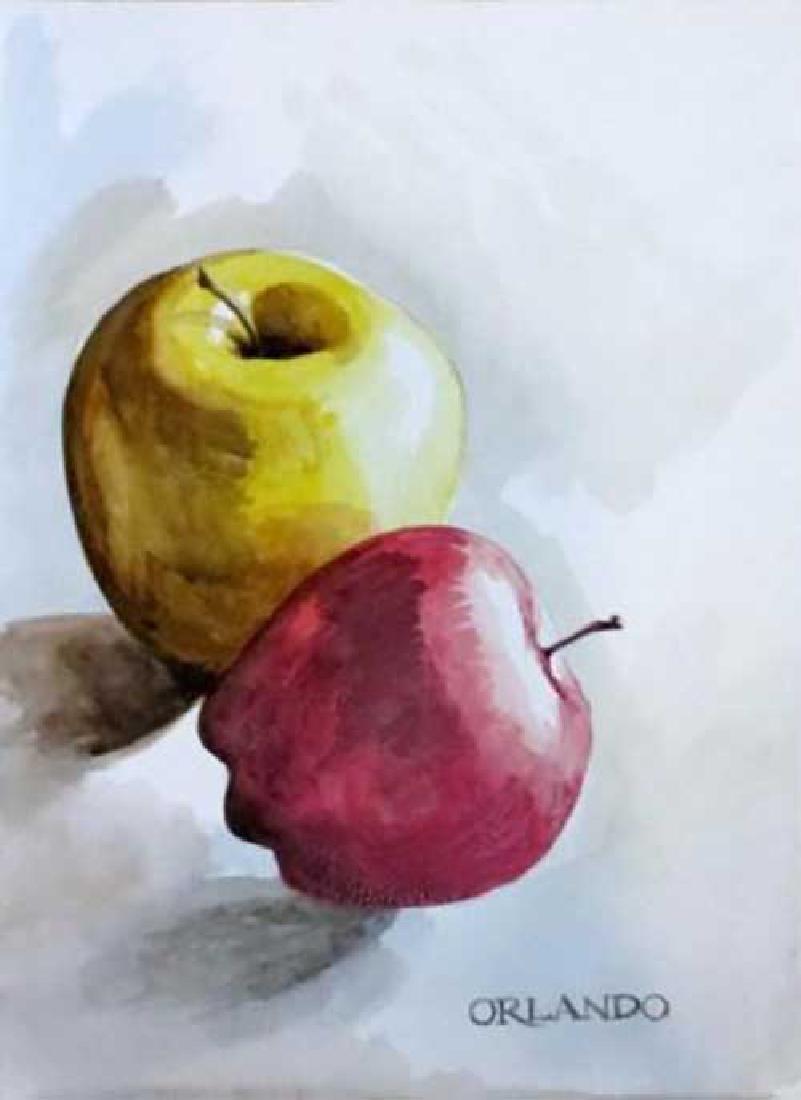 "Rafael Orlando 11X14 ""Apples"" Hand Signed Watercolor"