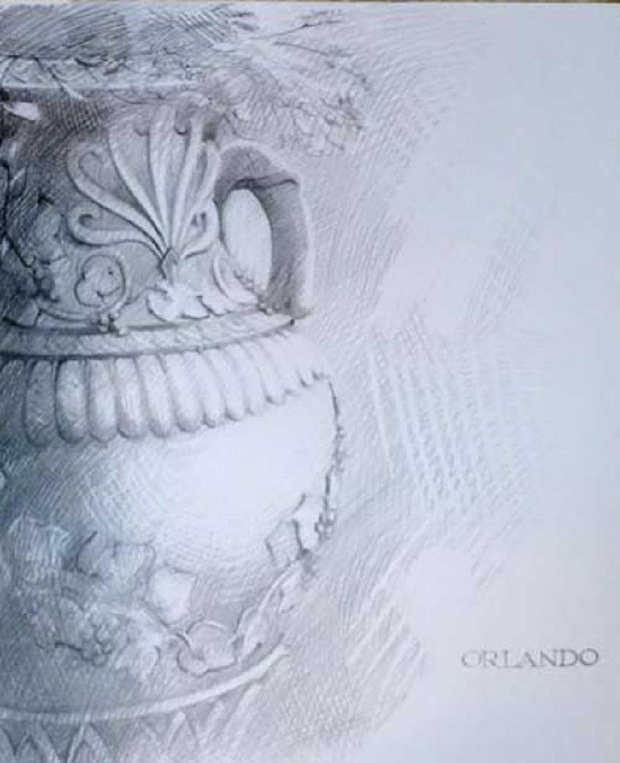 "Rafael Orlando 14x18 ""Vase"" Hand Signed Pencil Drawing"