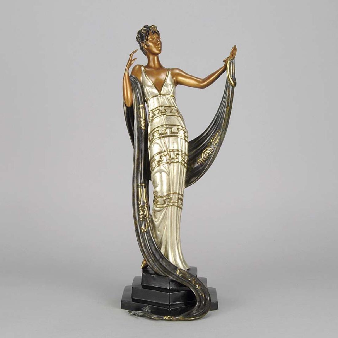 Erté Cold Painted Bronze Sculpture: La Coquette Signed