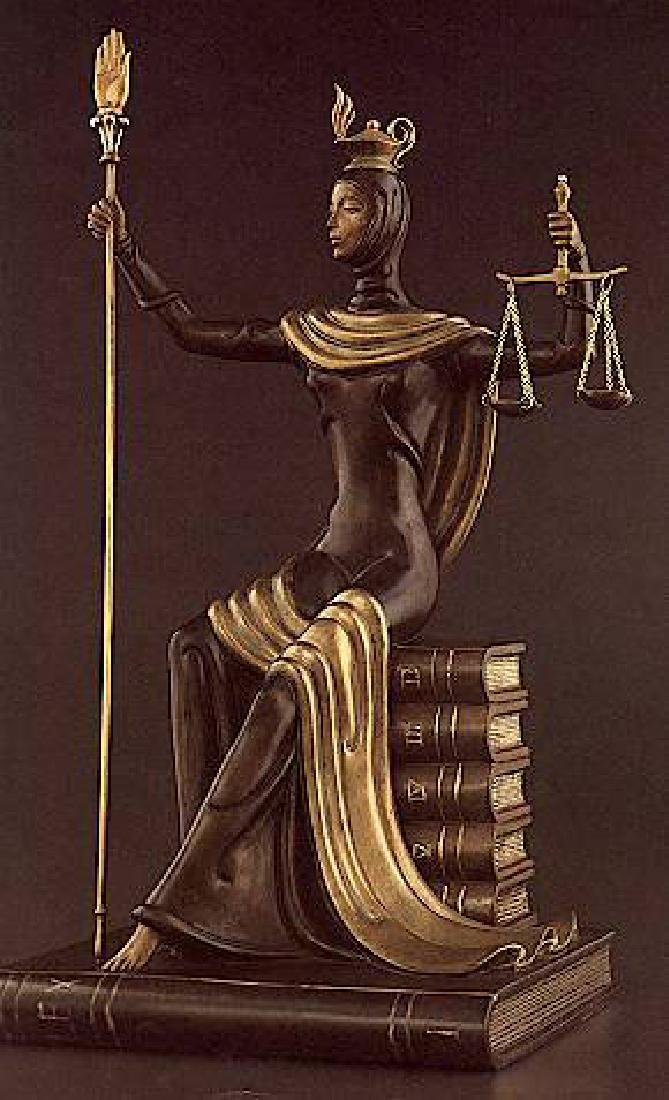 """Erte """"Justice"""", Bronze Sculpture Signed and Numbered"""