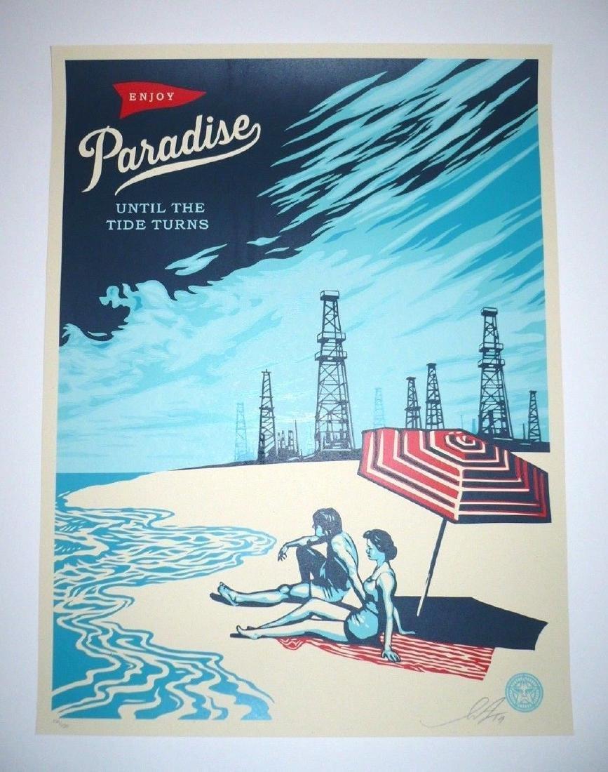 Shepard Fairey screen print Paradise Turns s/n edition