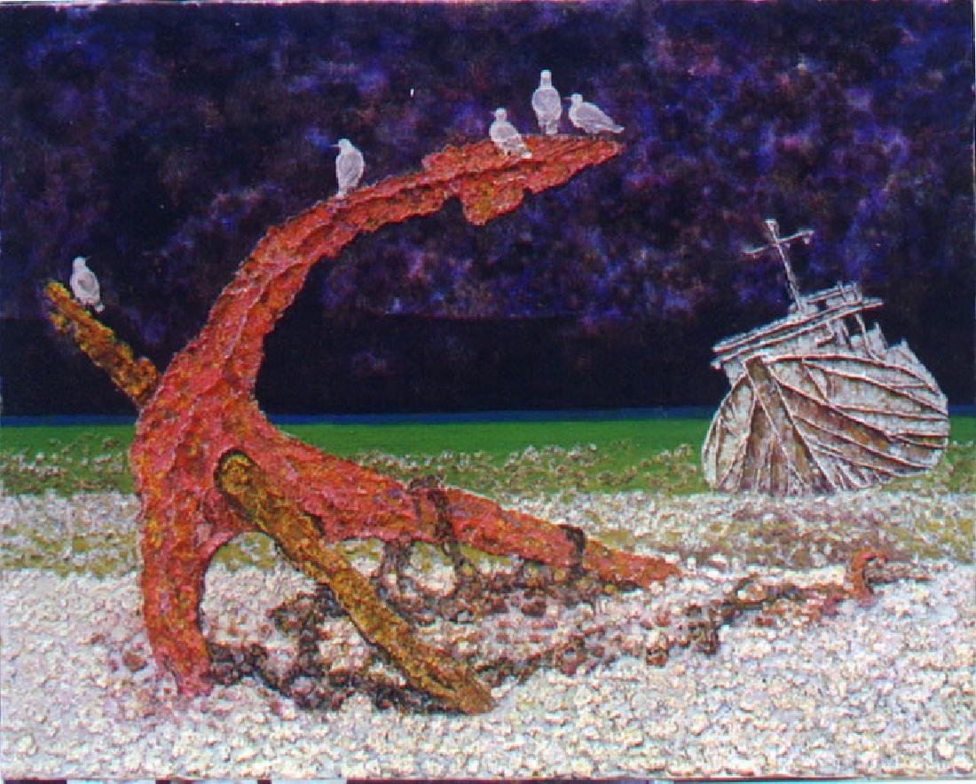 """Guang Tingbo, """"Ancient Anchor"""" T0003 Oil on Canvas"""