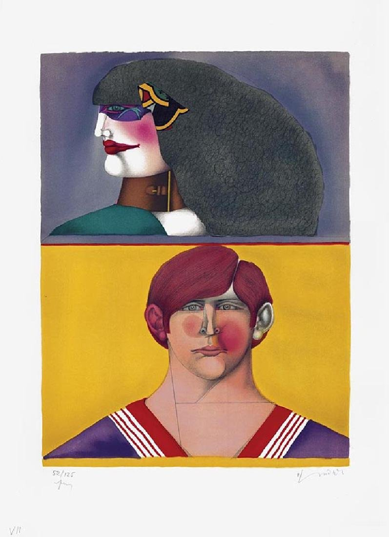 RICHARD LINDNER Front and profil Lithograph from