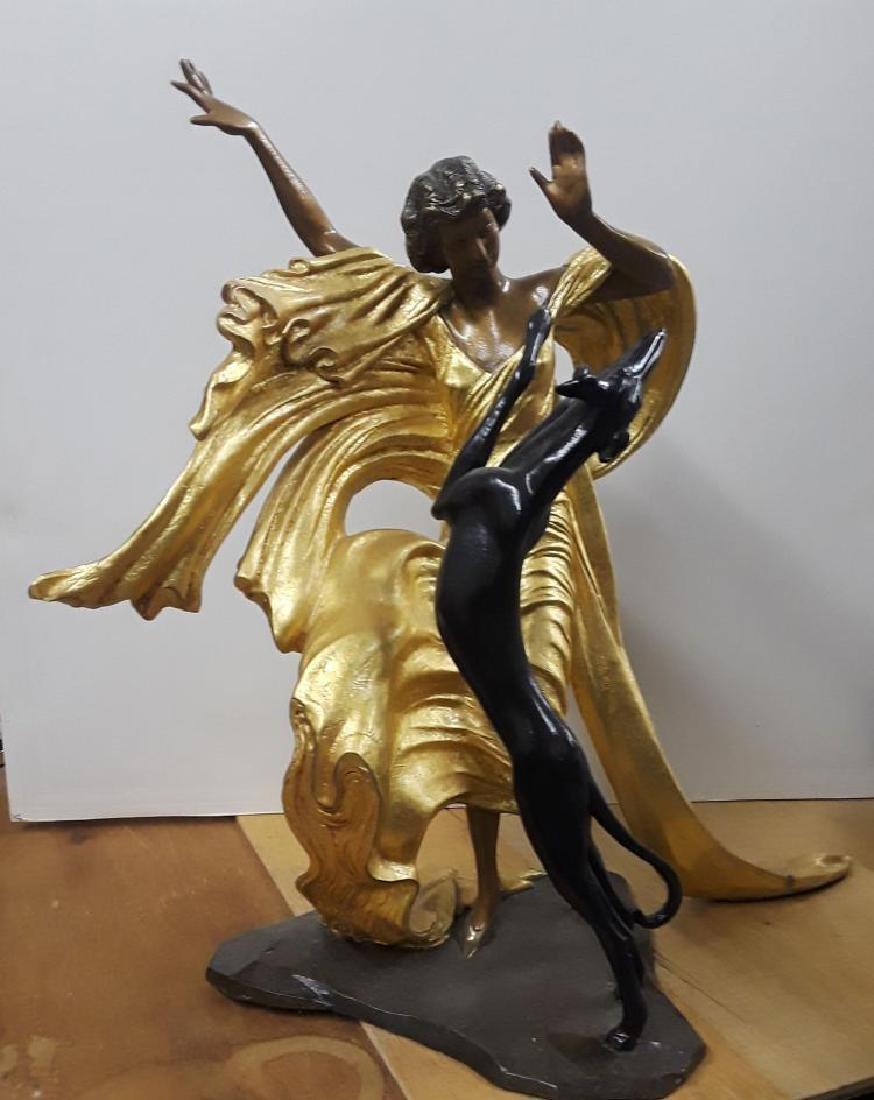 "LOUIS ICART, Original bronze ""lady with dog"", 69/350"