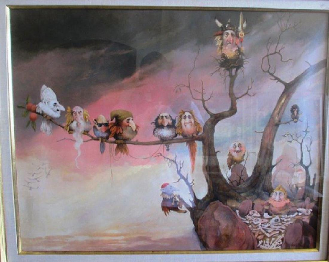 "Charles Bragg acrylic on board ""Aviary ""36x32"" framed"