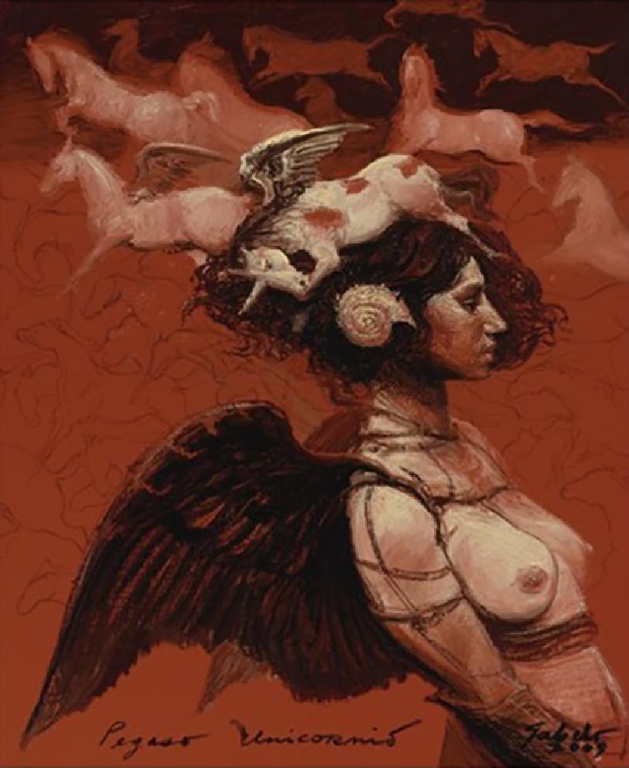 "Fabelo Roberto, ""Pegaso Unicornio"" Oil on canvas 2009."