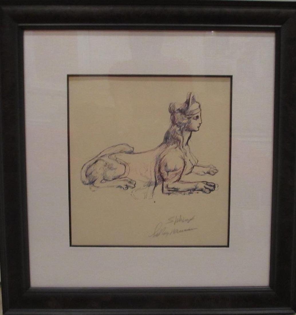 """Leroy Neiman Framed """"Sphinx"""" Original H/S Pen & Ink"""