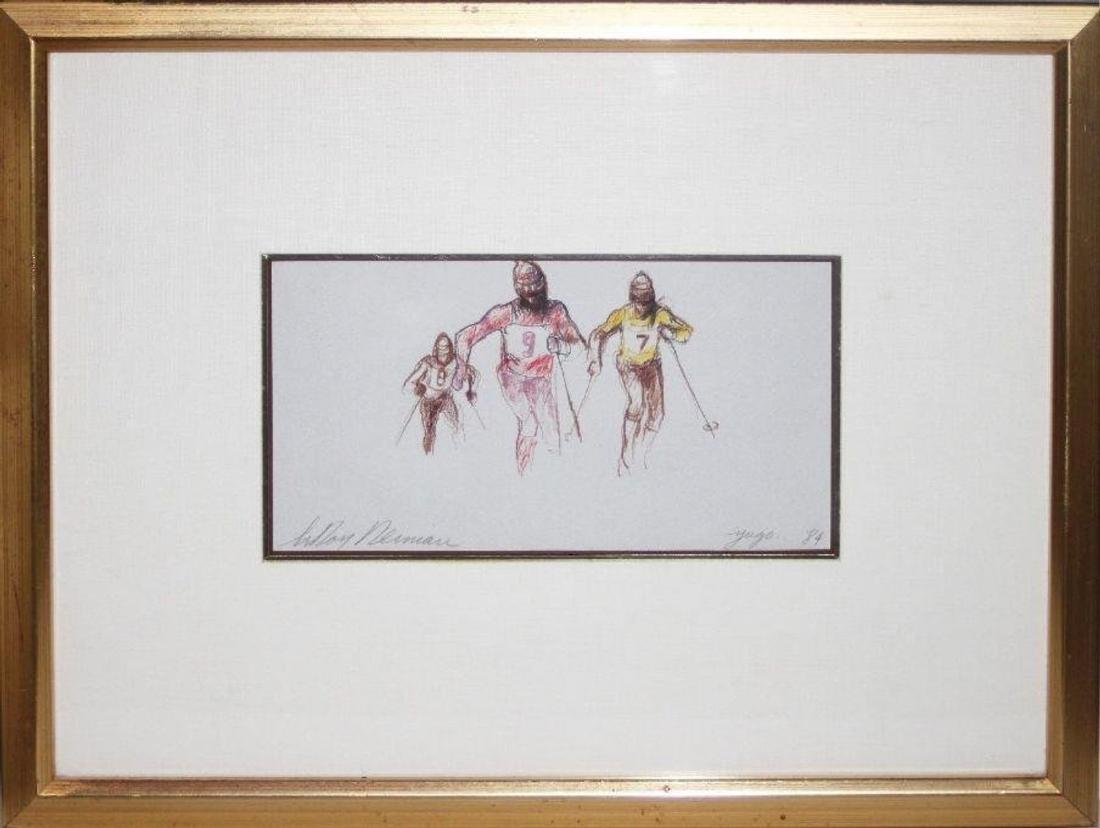 "Leroy Neiman Framed Original ""Skiers"" Signed Drawing"