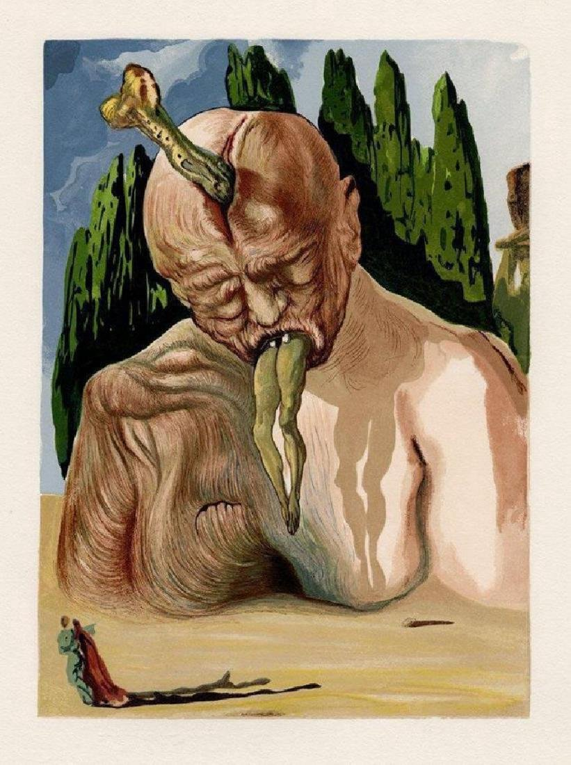 Dali, divine comedy woodcut canto 34 coa B.Hockman