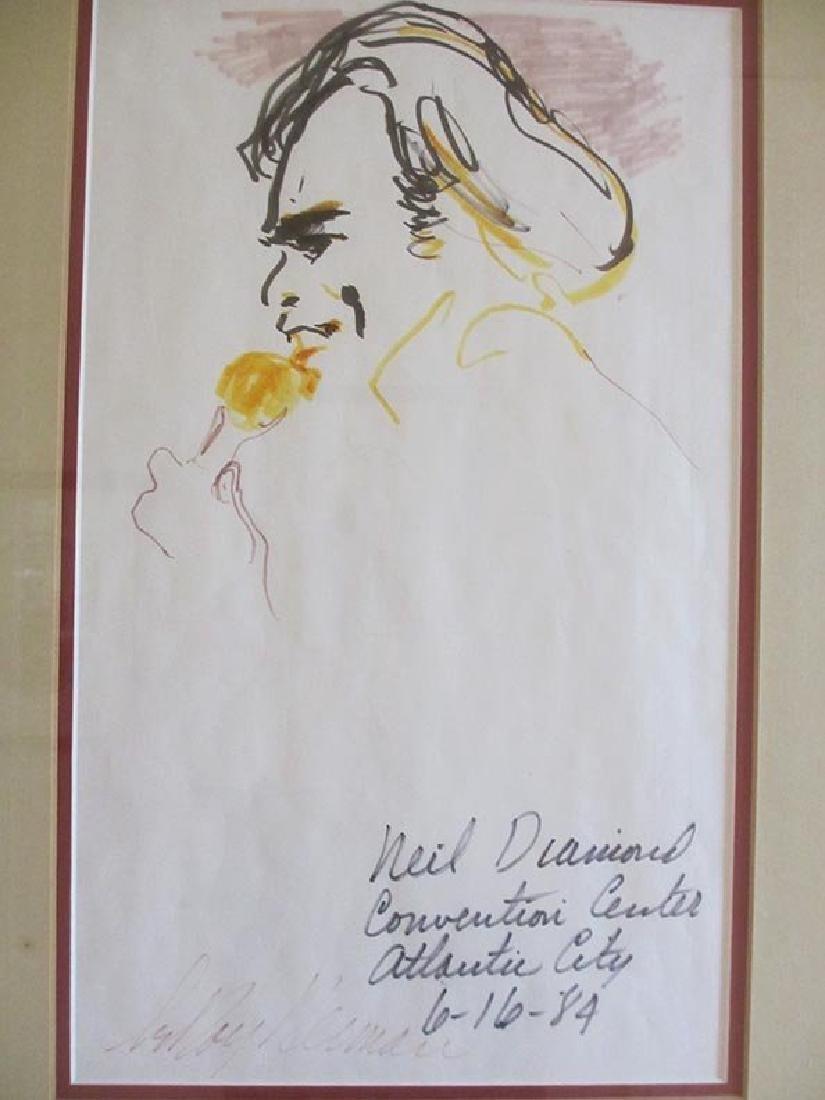 """Leroy Neiman Original Pen & Ink Signed """"Neil Diamond"""""""
