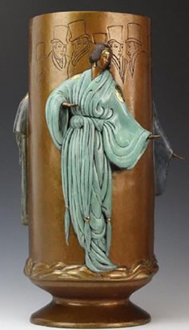 """Erte (Romain De Tirtoff) """"Fantasy"""" Bronze Vase"""