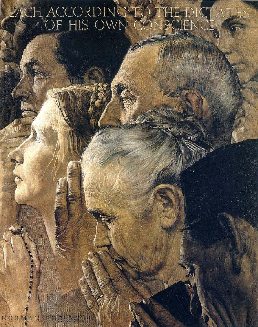"""NORMAN ROCKWELL """"Freedom of Worship"""" 1975 Plate Signed"""