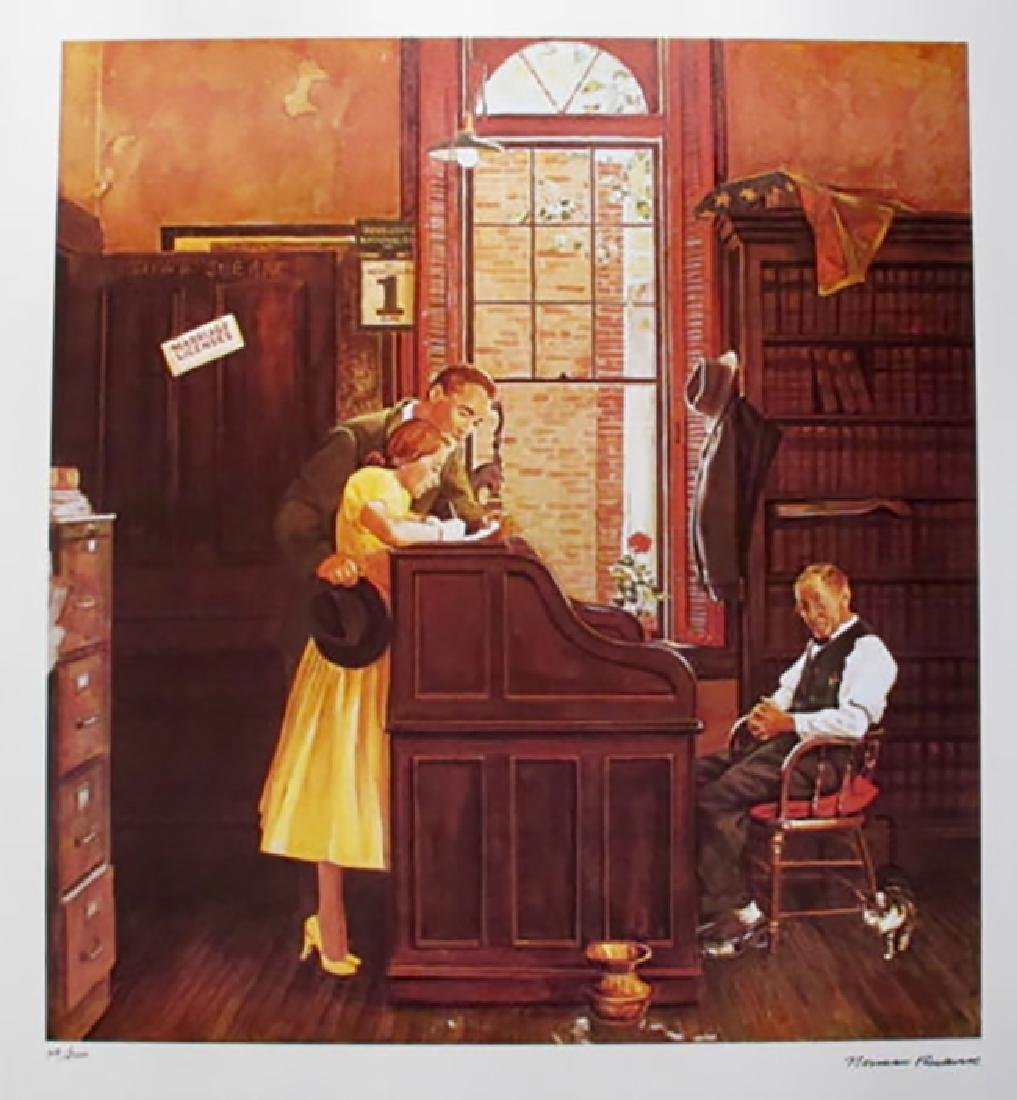 """Norman Rockwell Faxs. Signed L/E Lithograph """"MARRIAGE"""