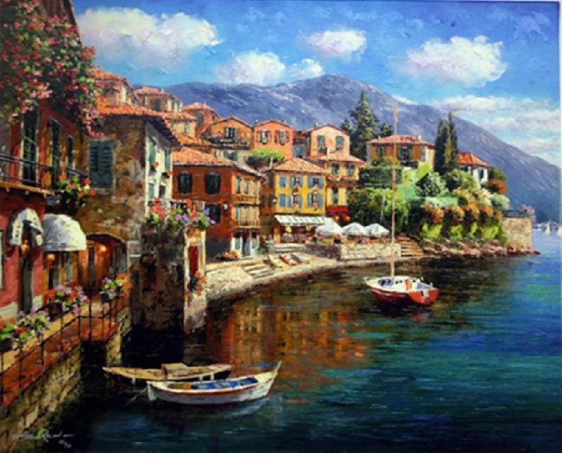 """SAM PARK """"Harbor at Varenna"""" Hand Sign/# Embellished"""