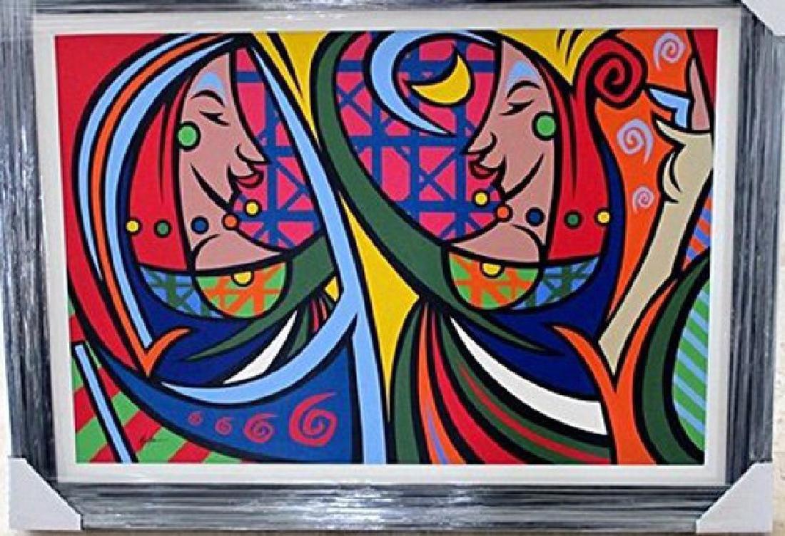 "G. MENA ""Mirror"" Framed Original Oil Large Contemporary"