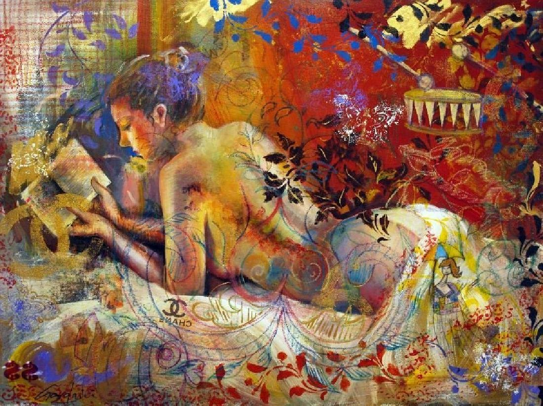 "Gardani ""Book of Poems"" Original Oil on Canvas Hand"