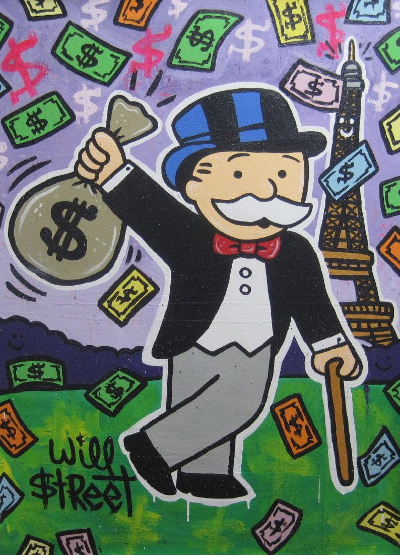 WILL $TREET canvas painting - monopoly alec dillon