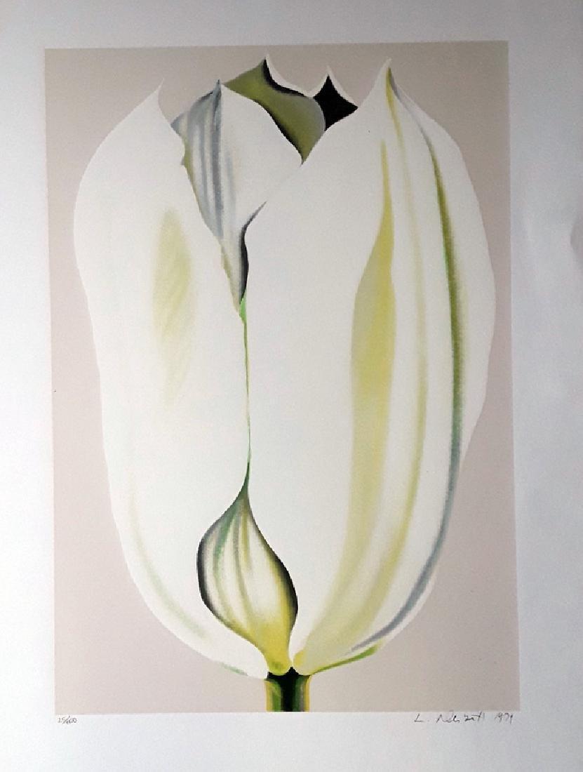 """Lowell Nesbitt """"White Tulips"""" HS/N Lithograph"""
