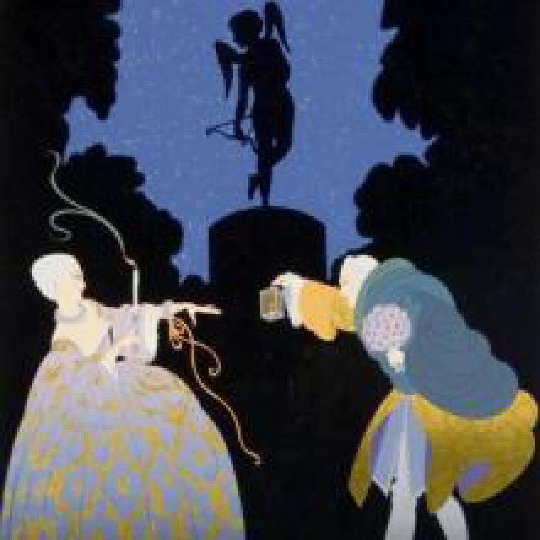 "Erte ""Rendezvous"" Elegant Romantic Courting Man & Lady"