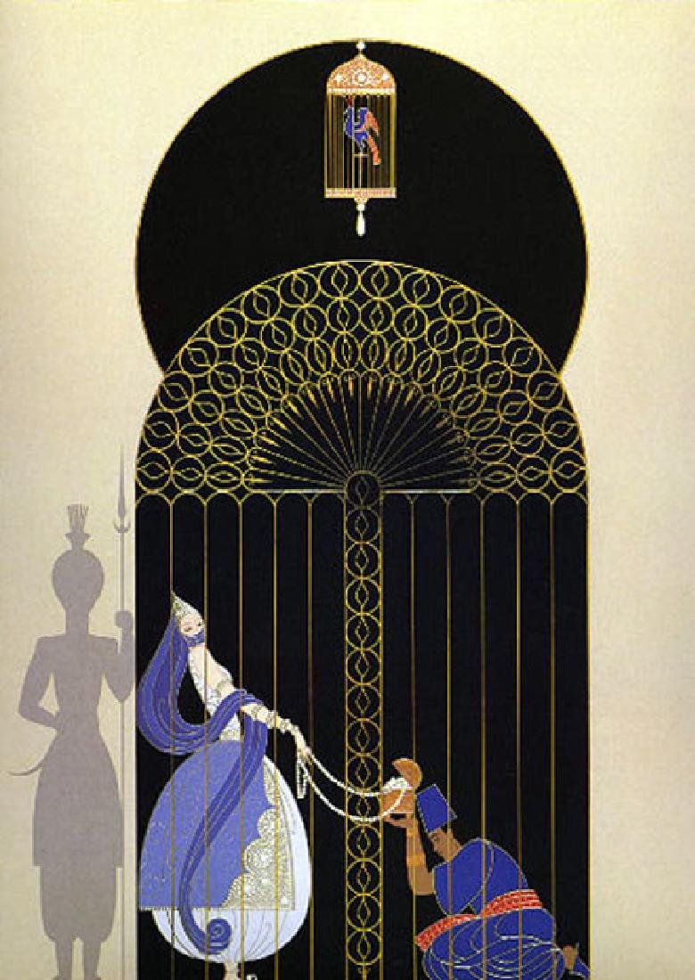 Erte BIRD IN A GILDED CAGE Hand Signed/# Serigraph