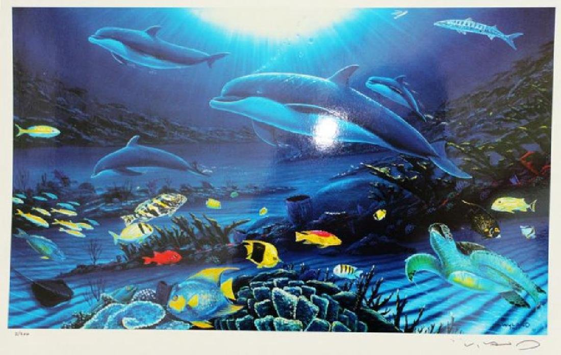 """WYLAND """"In The Company of Dolphins""""Hand Signed/# Seril"""