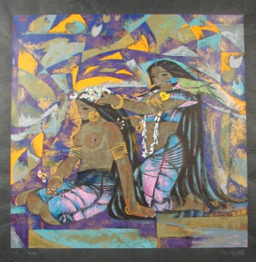 Zhou Ling COLOR MY WORLD Serigraph on Rice Paper Framed