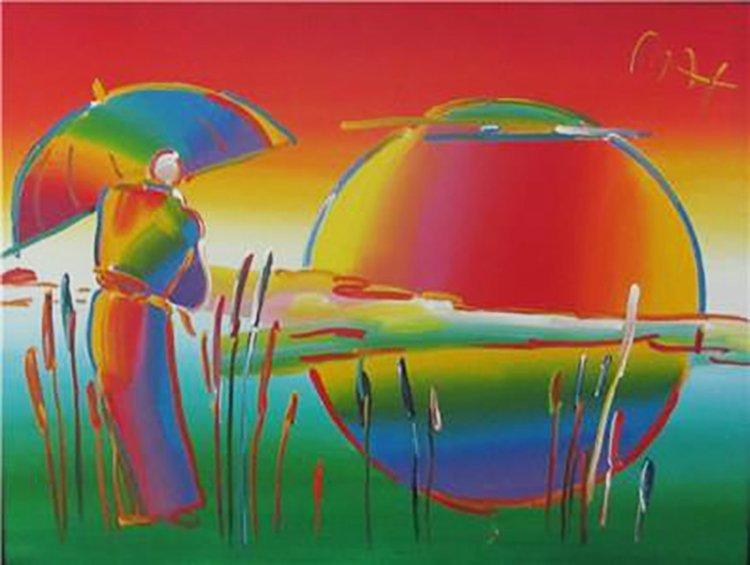 Peter Max Original Acrylic Canvas Umbrella Man 36 X 48