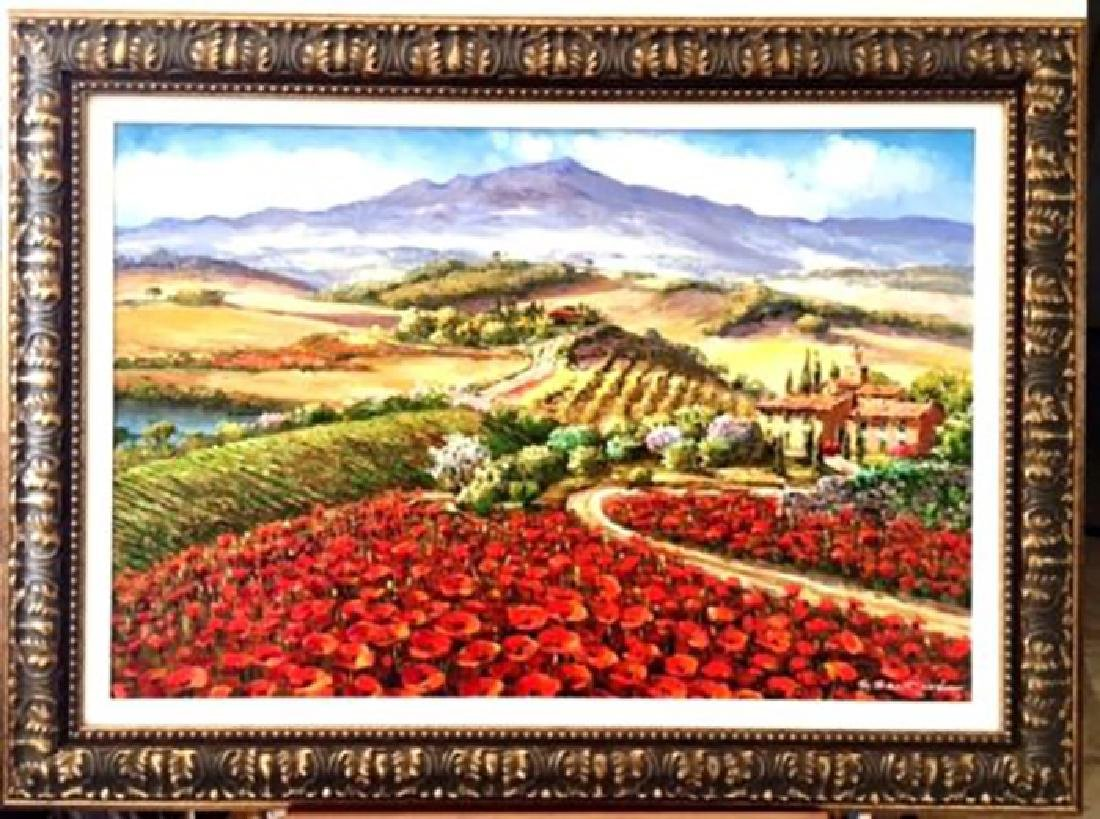 "Sam Park Framed Original Oil H/S ""Tuscany"" Italy Red"