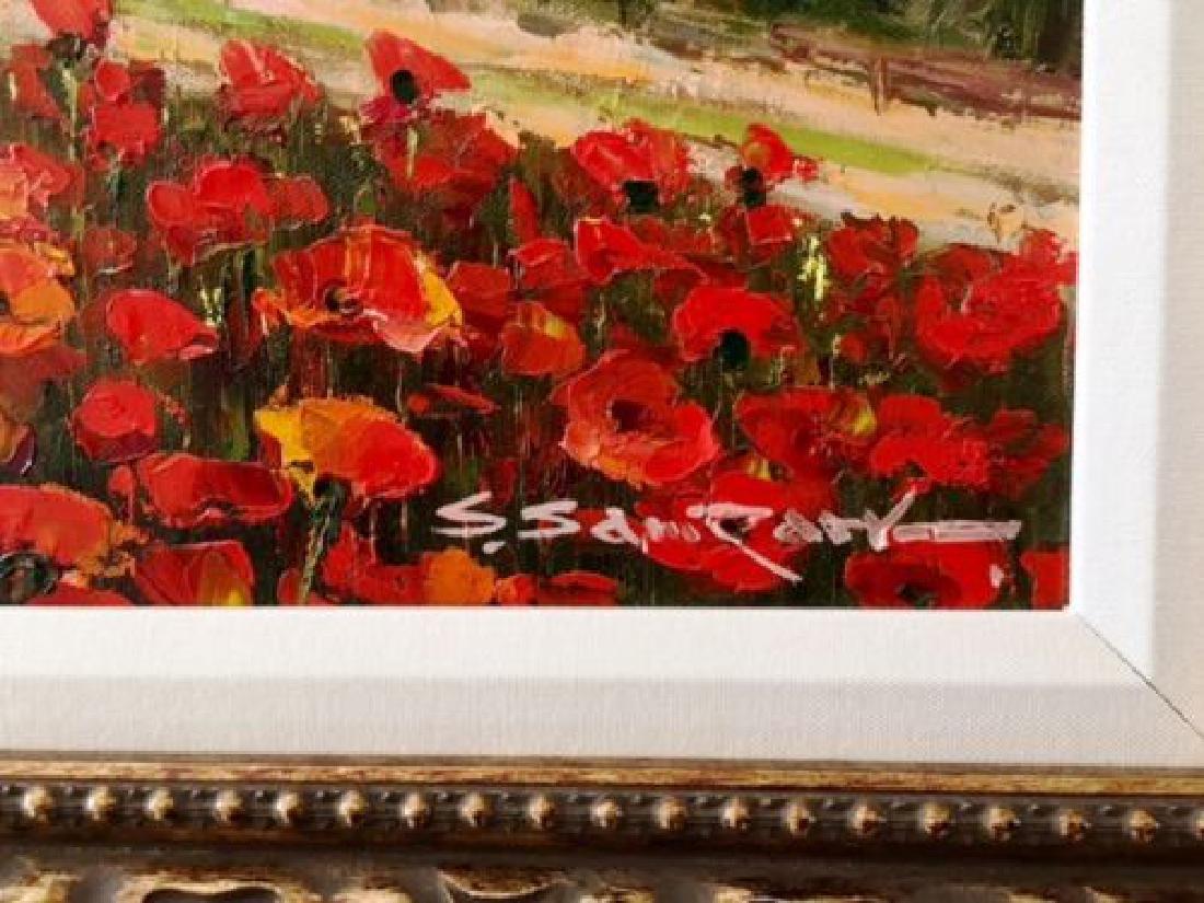 "Sam Park Framed Original Oil H/S ""Tuscany"" Italy Red - 2"