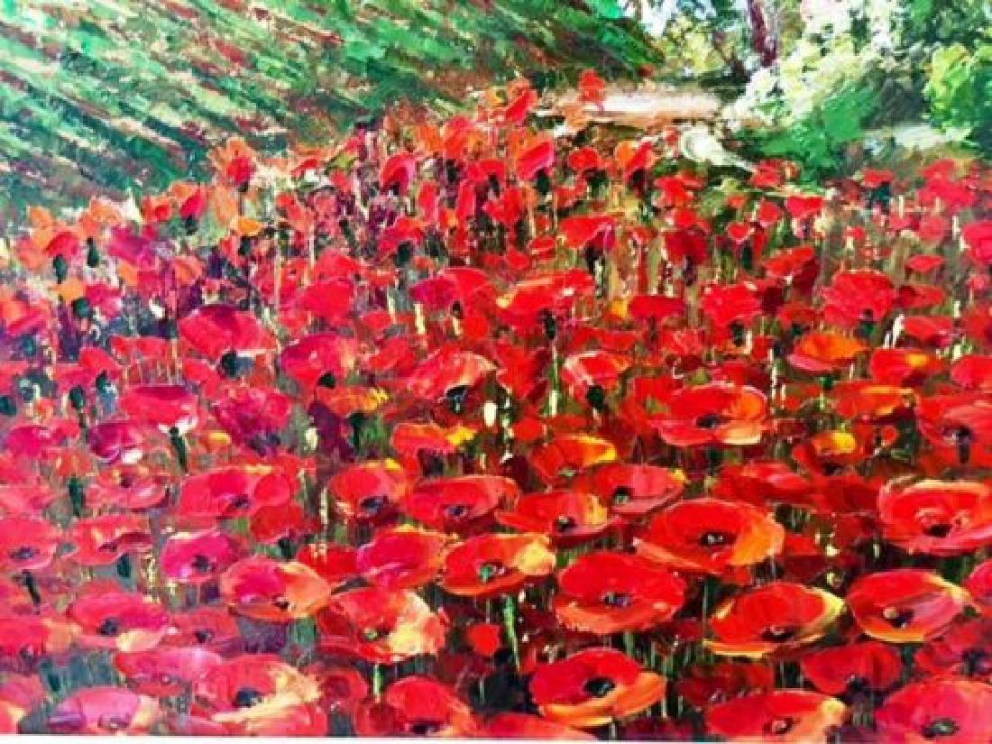 "Sam Park Framed Original Oil H/S ""Tuscany"" Italy Red - 3"