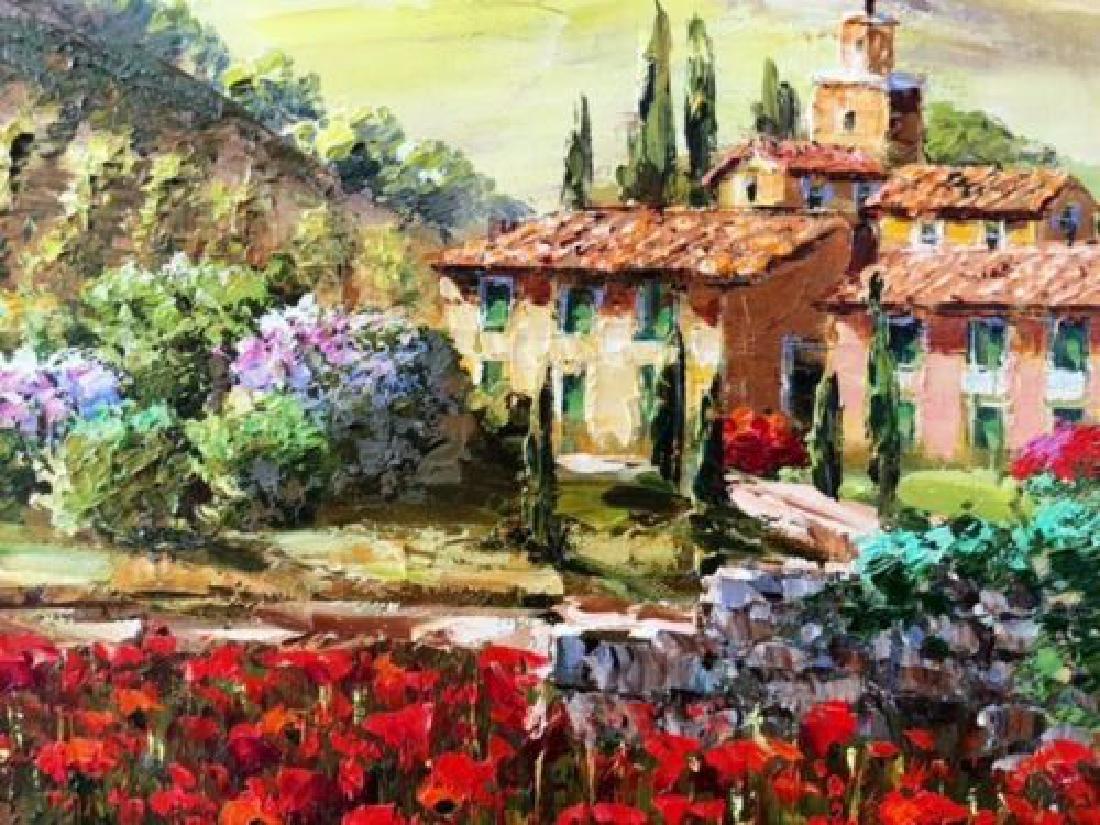"Sam Park Framed Original Oil H/S ""Tuscany"" Italy Red - 4"
