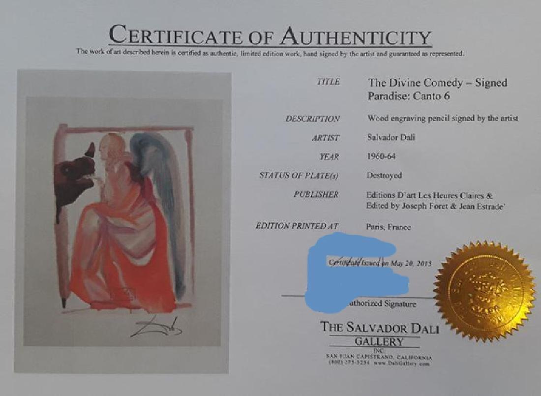Salvador Dali Hand Signed Woodblock Divine Comedy - 2