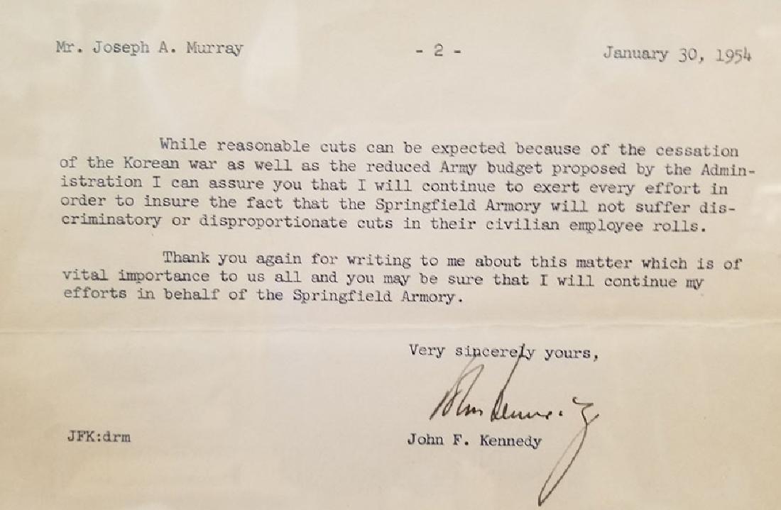 JOHN F KENNEDY JFK ORIGINAL SIGNATURE LETTER 1954 PCA - 3