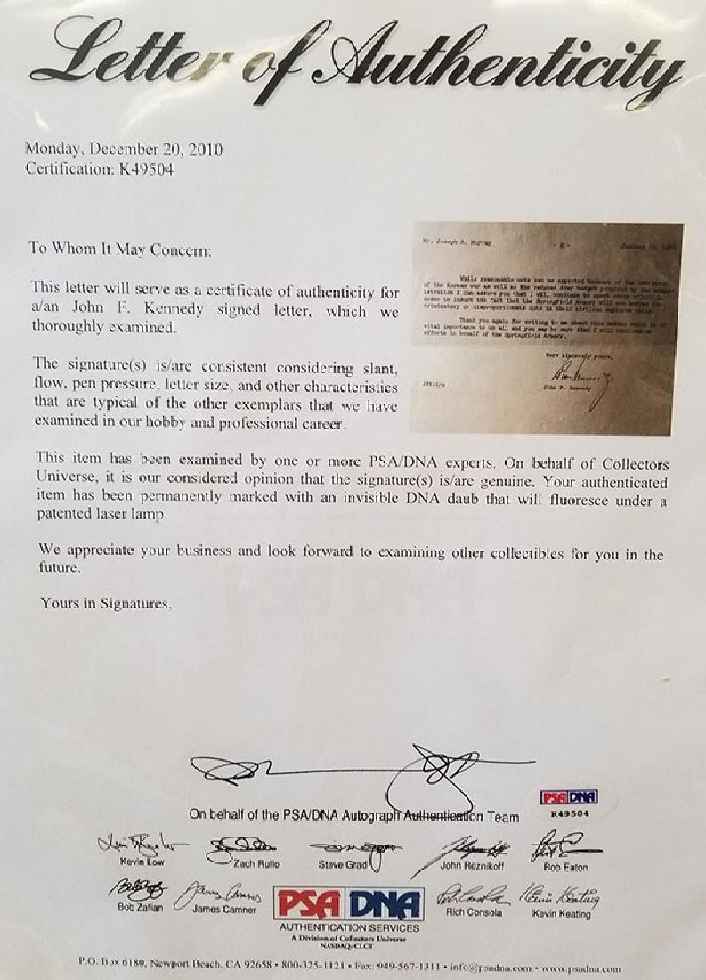 JOHN F KENNEDY JFK ORIGINAL SIGNATURE LETTER 1954 PCA - 5