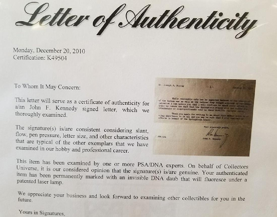 JOHN F KENNEDY JFK ORIGINAL SIGNATURE LETTER 1954 PCA - 6