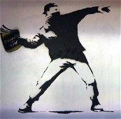 BANKSY THROWER MIXED MEDIA ON METAL 2012 COA BRAINWASH