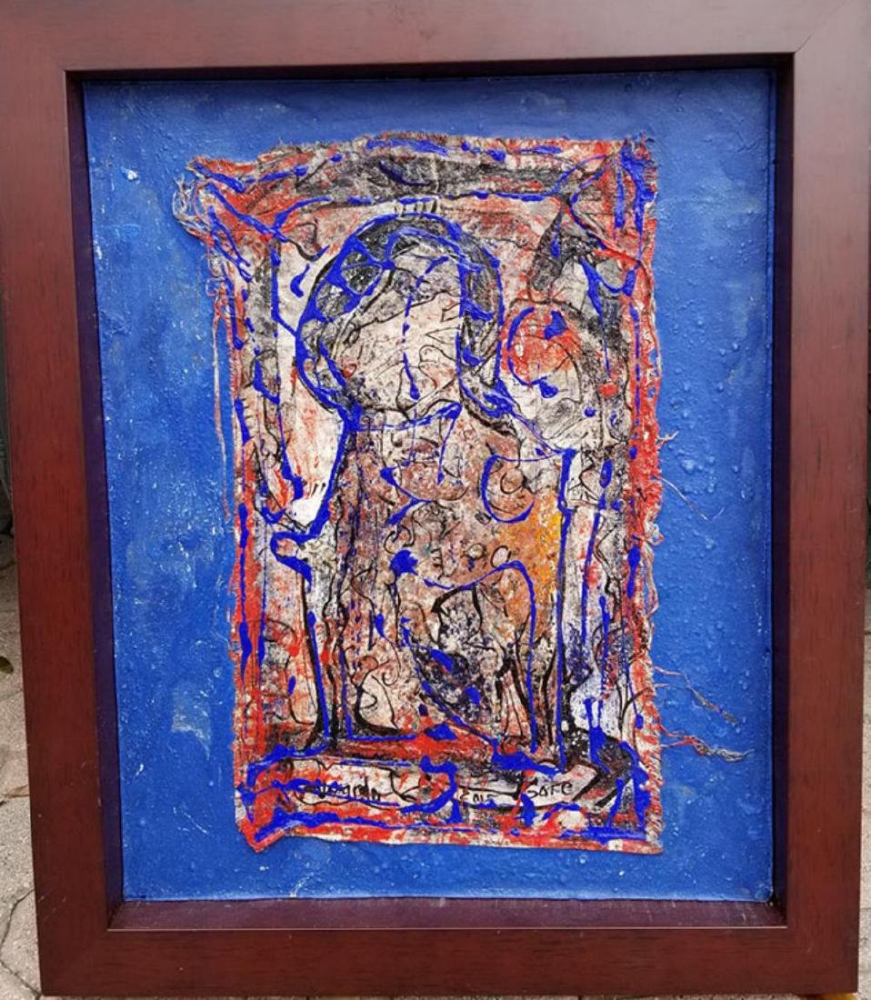 """Alexander Gore (Russian) signed mixed media """"Thrue the"""