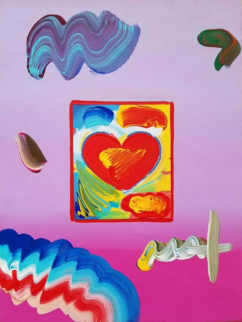 "PETER MAX, ""HEART"", ORIG MIXED MEDIA"