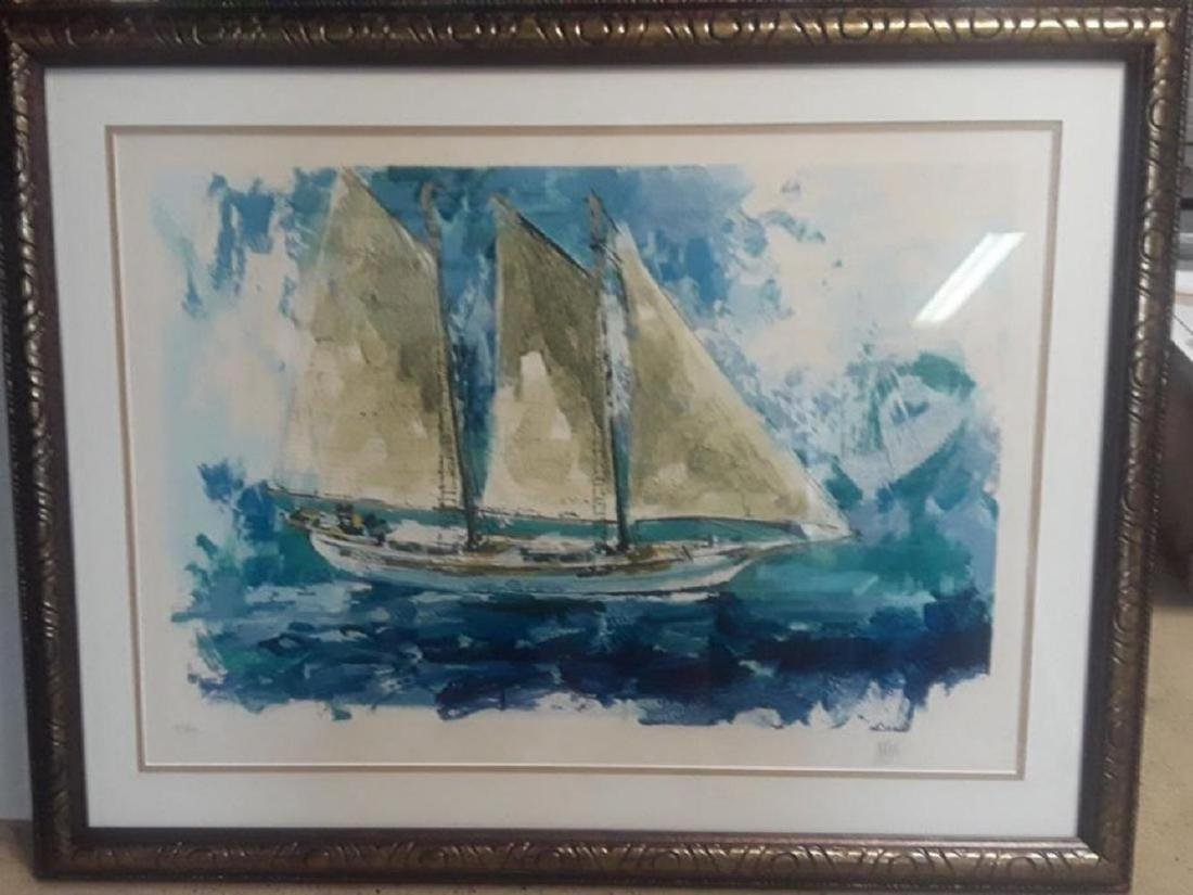 "Wayland Moore ""Sailboat"" HS/N Lithograph Framed"