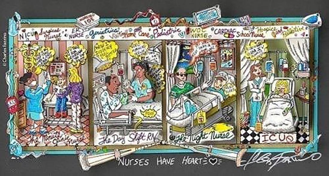 """Charles Fazzino """"Nurses Have Heart"""" Hand Signed FRAMED"""