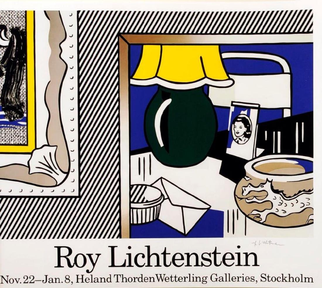 Roy Lichtenstein Two Paintings offset lithograph Hand