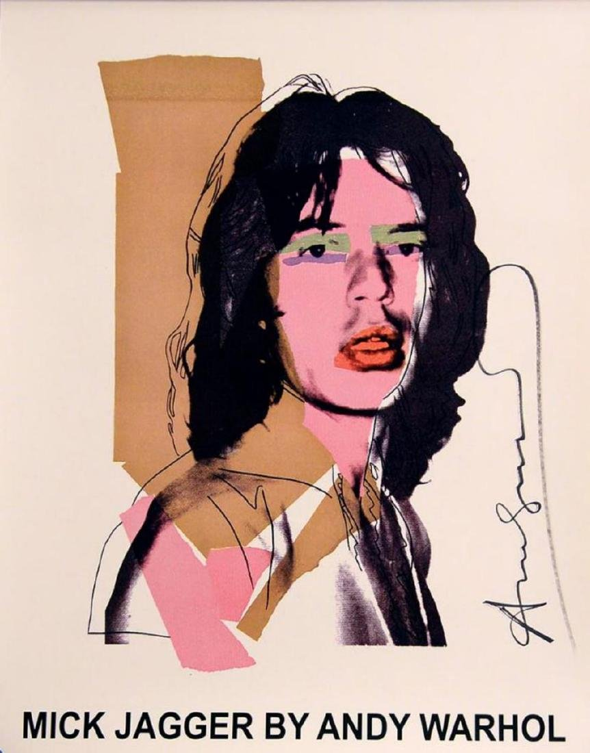 Andy Warhol, Mick Jagger hand signed Rare Poster, 1975