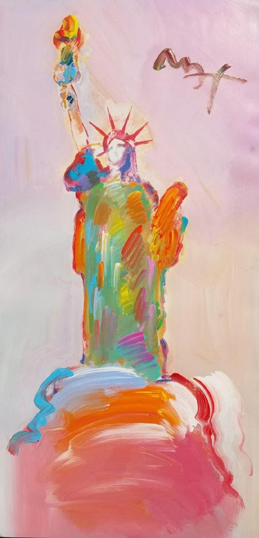 "PETER MAX ""Statue of Liberty""  Mix Media 30"" X 48"""