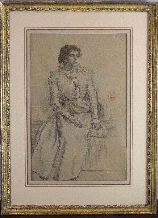 Lucien Abrams Charcoal Drawing Victorian Woman Portrait Jan 27