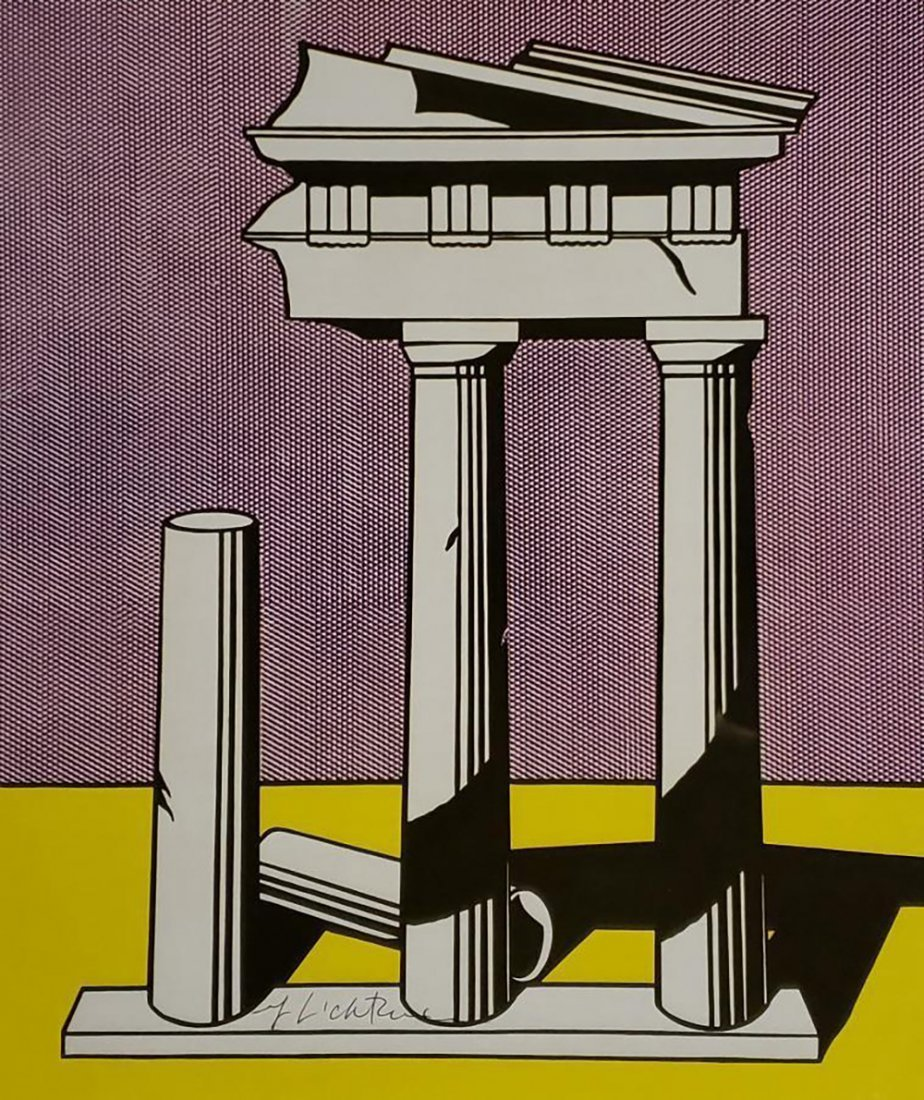 Roy Lichtenstein - Temple II, Hand signed offset litho